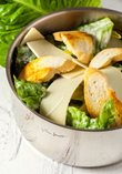 Caesar salad with garlic croutons and parmesan